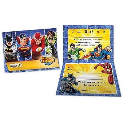 Convite de Aniversário Liga da Justiça - 08 unidades