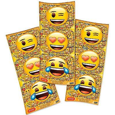 Adesivo Retangular Decorativo - Emoji - 04 cartelas
