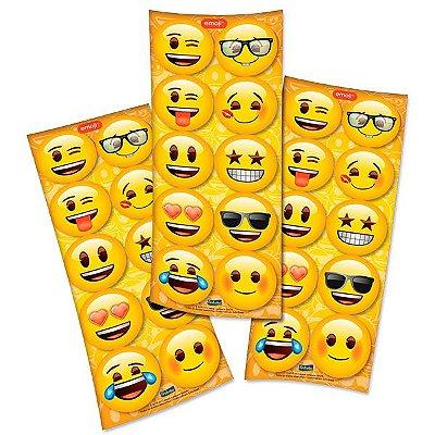 Adesivo Redondo Decorativo - Emoji - 03 cartelas