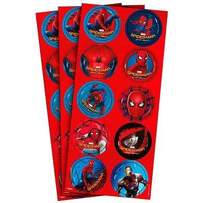 Adesivo Redondo - Homem Aranha Home - 03 cartelas