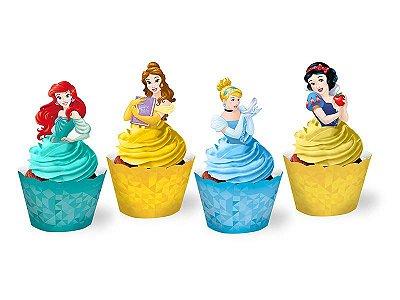 Cupcake Wrapper com enfeite- Princesas - 12 und