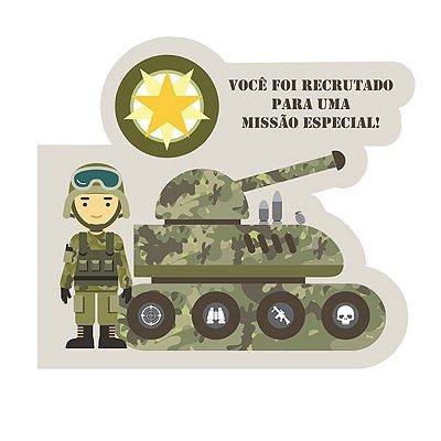 Convite de Aniversário Festa MIlitar- 08 unidades