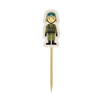 Pick para doces e Cupcake - Soldado Militar - 10 und