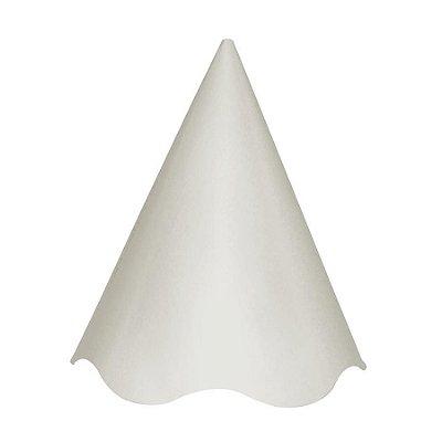Chapéu de Aniversário Liso - Branco - 08 unidades