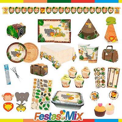 kit Festa Safari Luxo - 24 pessoas