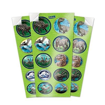 Adesivo Redondo  - Jurassic World - 03 cartelas