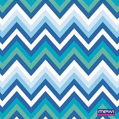 TNT Estampado - Chevron Azul - 01 Metro