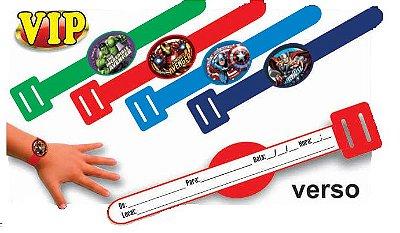 Convite Pulseirinha VIP - Os Vingadores - 08 unidades
