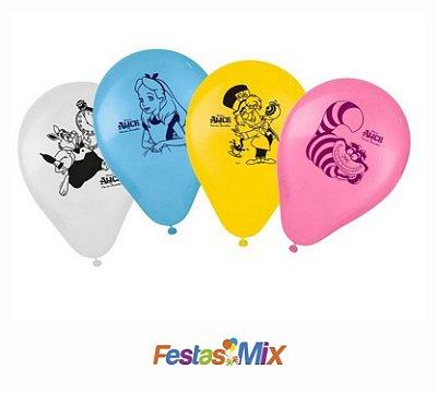 Balão Latex 9 polegadas - Alice no País das Maravilhas