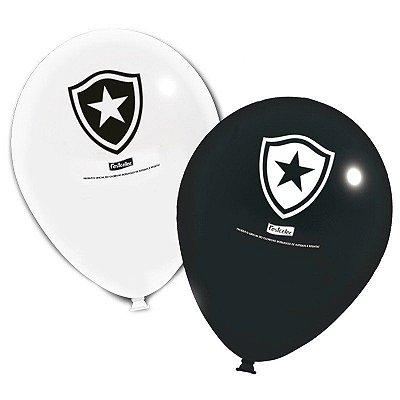 Balão Látex 9 Polegadas - Botafogo - 25 unidades