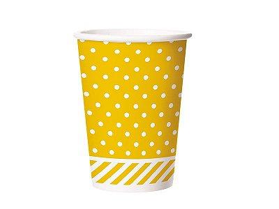 Copo de Papel 180ml - Festa Colors Amarelo - 08 unidades