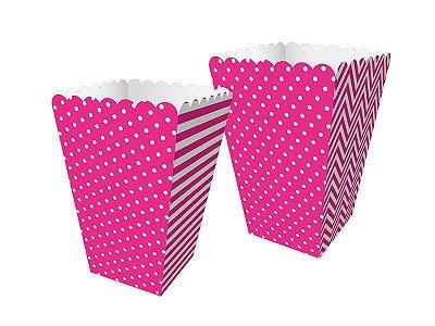 Mini Caixa de Pipoca - Festa Colors Rosa - 08 unidades