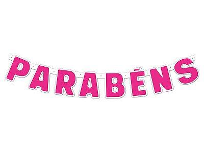 Faixa Parabéns - Festa Colors - Rosa