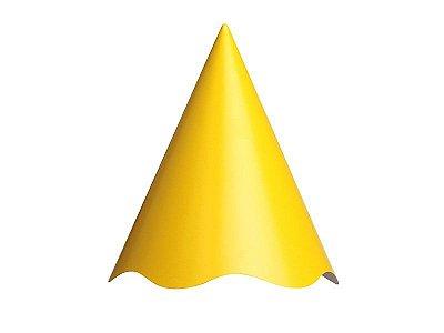 Chapéu de Aniversário Liso - Amarelo - 08 unidades