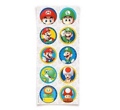 Adesivo Decorativo Redondo - Super Mario Bros - 03 cartelas