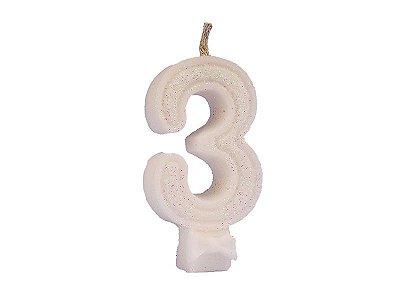Vela de Aniversário Glitter - Branco - Nº 3