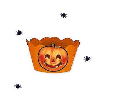 Cupcake Wrapper com Enfeite Halloween - Laranja - 08 unidades