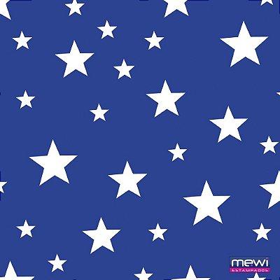 TNT Estampado Estrela Branca fundo Azul Royal - 01 metro