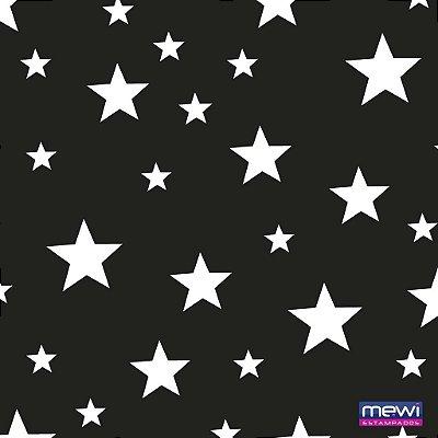 TNT Estampado - Estrela Branca fundo Preto - 01 Metro