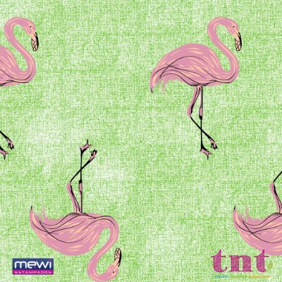 TNT Estampado - Flamingo fundo Verde - 01 Metro