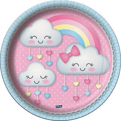 Prato de Papel - Chuva de Amor - 08 unidades