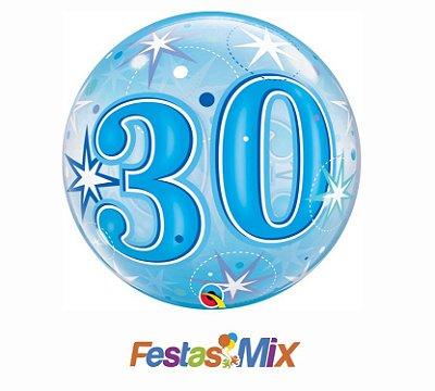 Balão Bubble - 30 Azul - 22 polegadas