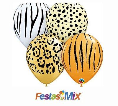 Balão Látex 11 Polegadas - Sortido Safari - 05 unidades
