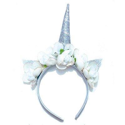 Tiara Unicórnio com Flores - Prata