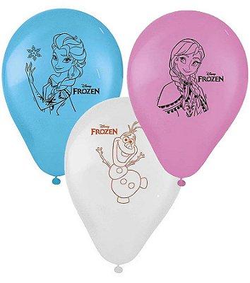Balão Látex 9 Polegadas - Frozen - 25 unidades