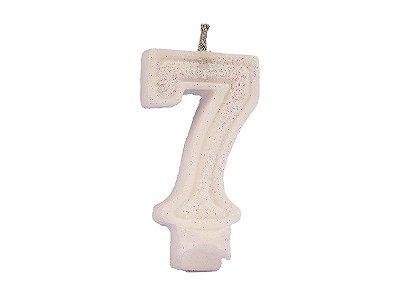 Vela de Aniversário Glitter - Branco - Nº 7