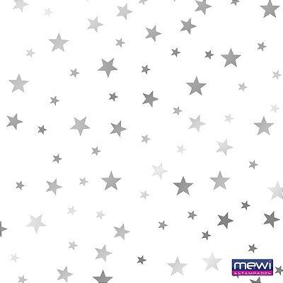 TNT Estampado Estrela Prata fundo Branco - 05 Metros