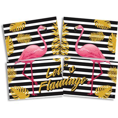 Painel 4 Folhas - Flamingo