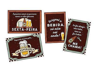Cartaz Decorativo - Boteco - 04 unidades