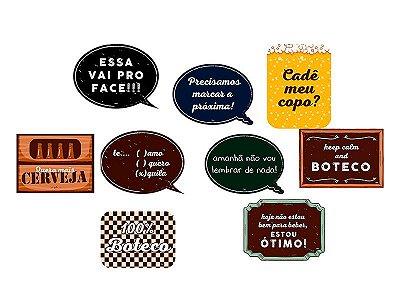 Plaquinha para Foto com Vareta - Boteco - 09 unidades