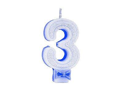 Vela de Aniversário Glitter - Azul - Nº 3