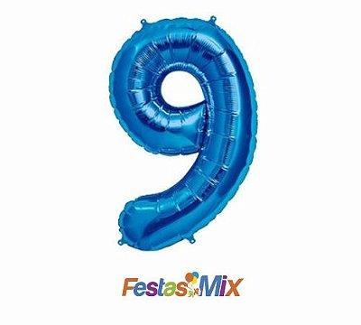 Balão Metalizado 40cm - Azul - Número 9