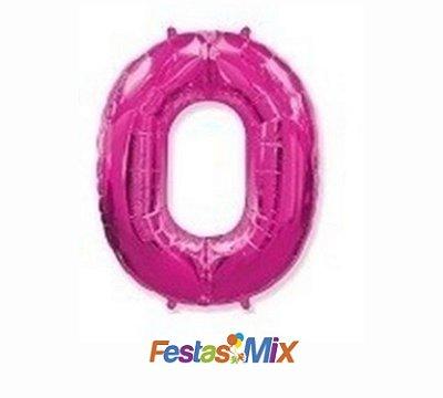 Balão Metalizado 40cm - Rosa - Número 0