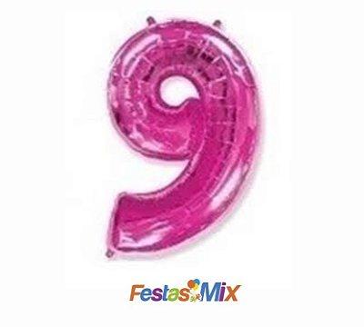 Balão Metalizado 40cm - Rosa - Número 9