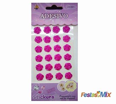 Cartela Adesivos  - Flor Rosa