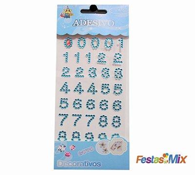 Cartela Adesivos Decorativos  - Número Azul