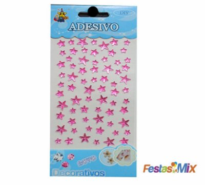 Cartela Adesivos  - Estrela Rosa