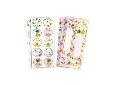 Adesivo Redondo e Retangular - Flamingo - 04 cartelas