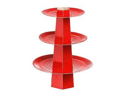 Baleiro 3 Andares - Festa Colors Vermelho