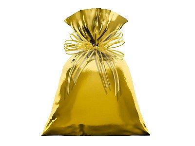 Saco Metalizado para Presente - Dourado - 50 unidades