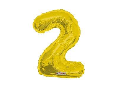 Balão Metalizado 35cm Número - Dourado -  2