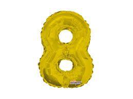 Balão Metalizado 35cm Número - Dourado -  8