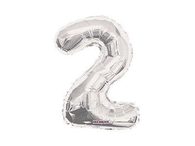 Balão Metalizado 35cm Número - Prata -  2