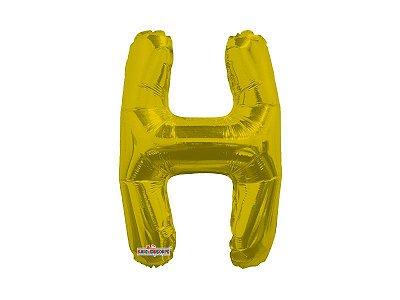 Balão Metalizado 22 cm - Dourado- Letra H