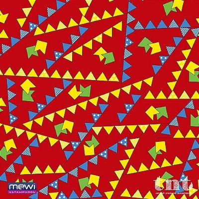 TNT Estampado - bandeirinha vermelho - 01 Metro