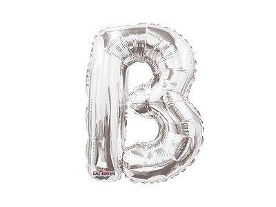 Balão Metalizada 22 cm - Prateada - Letra B